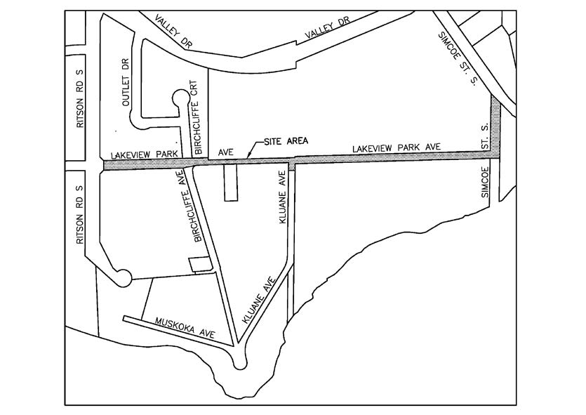 Map of service replacement area.