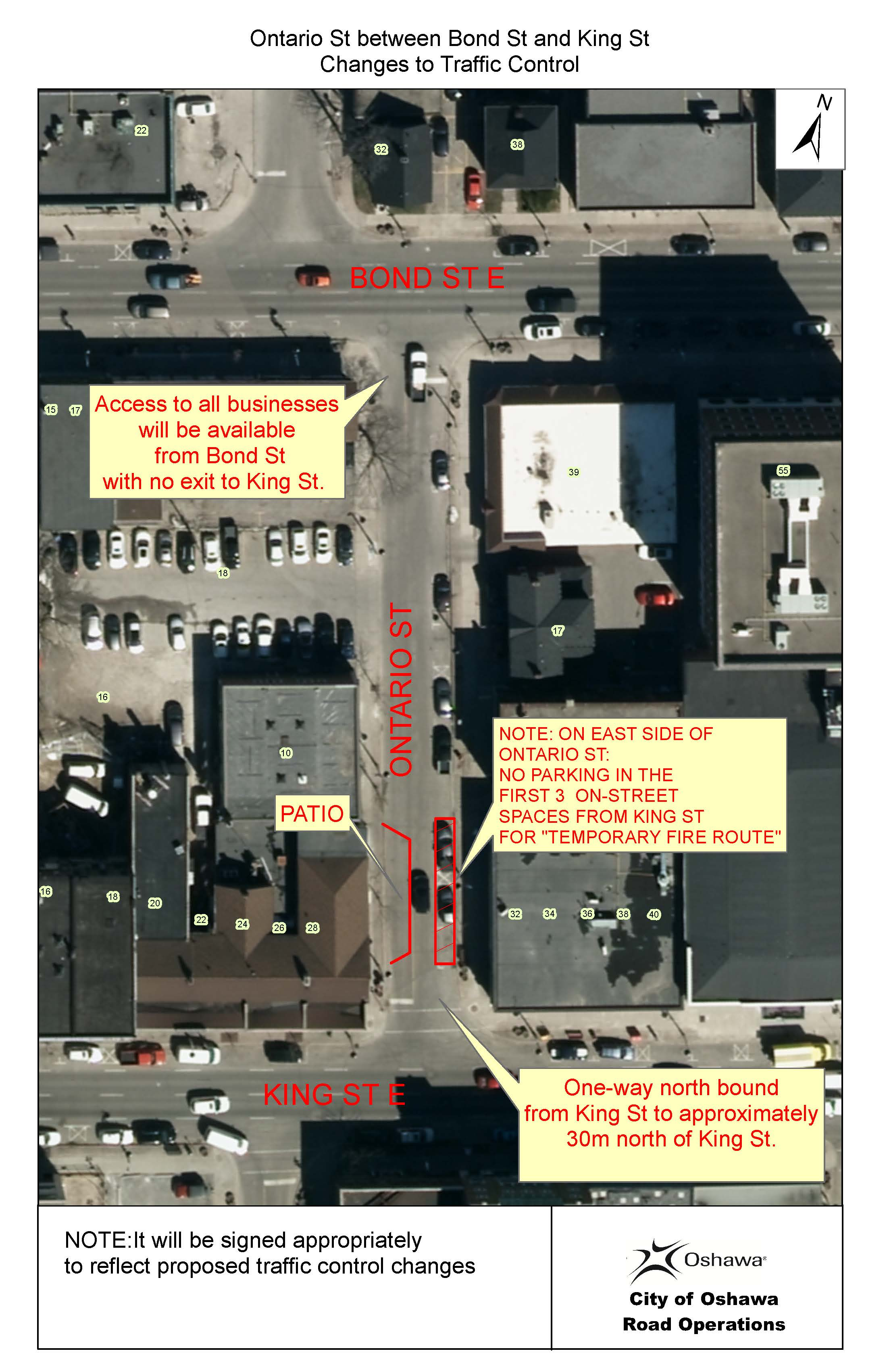 Ontario St Traffic Control Changes Map