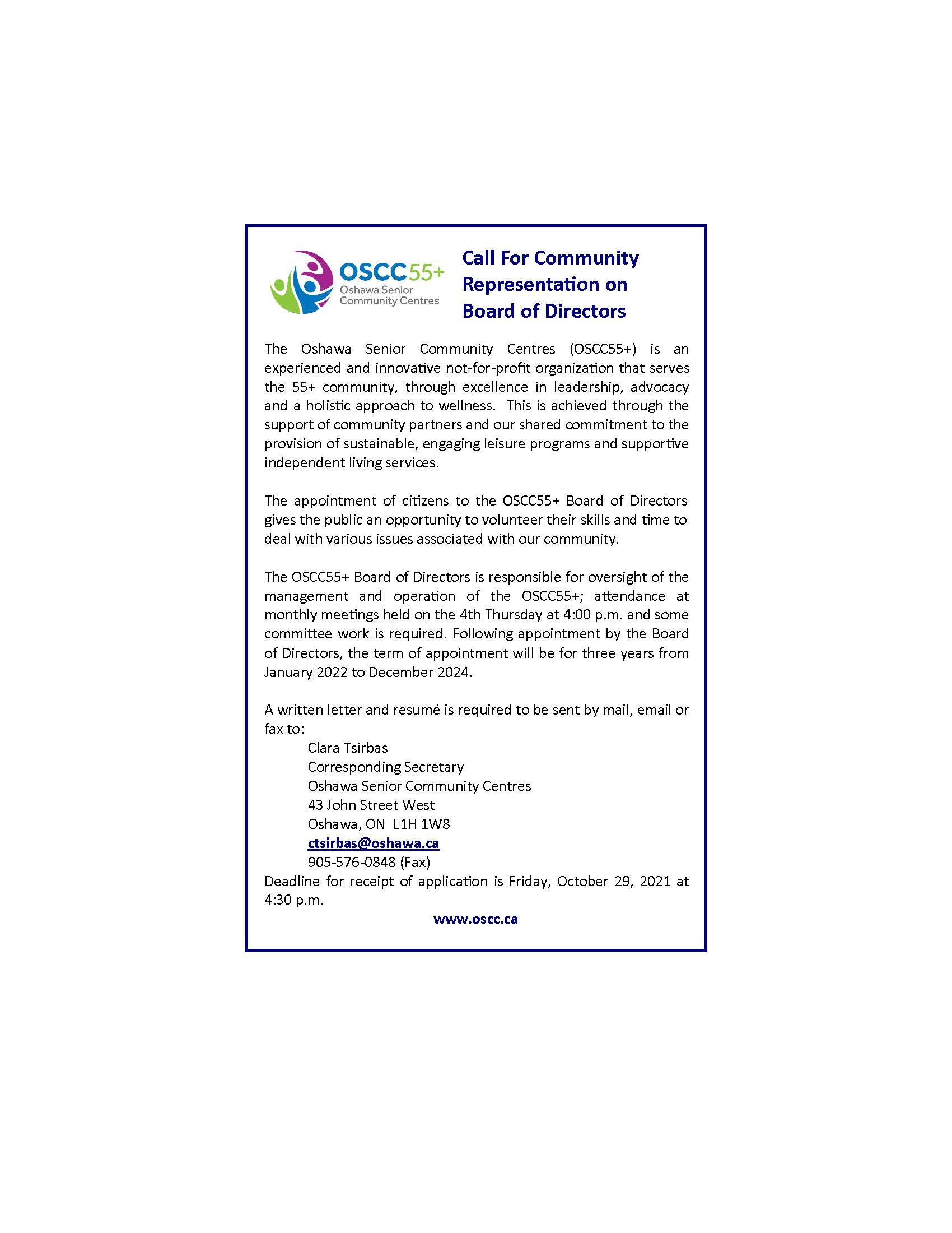 Call for Representatives on the BOD