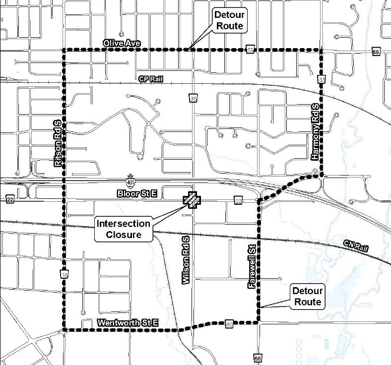 map of construction and detour