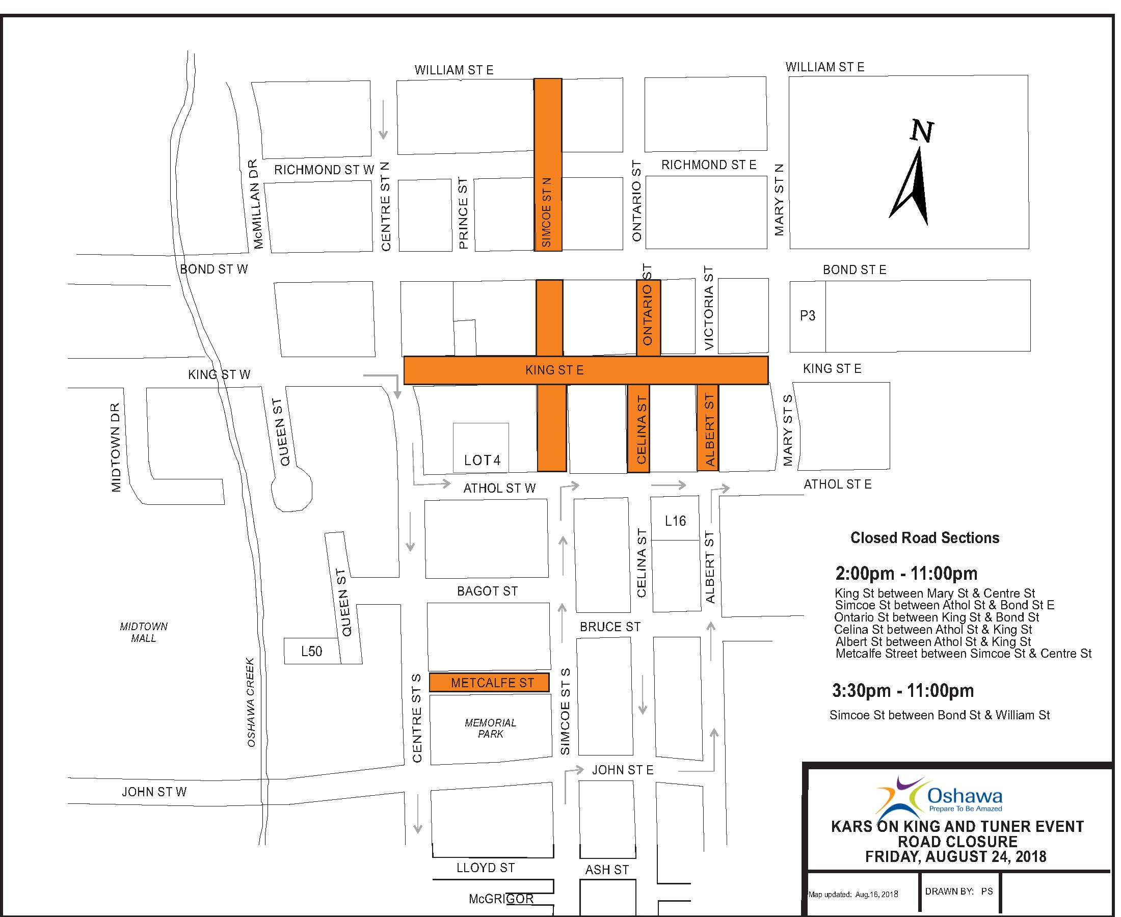 Kars on King and Tuner Event Road Closure Map