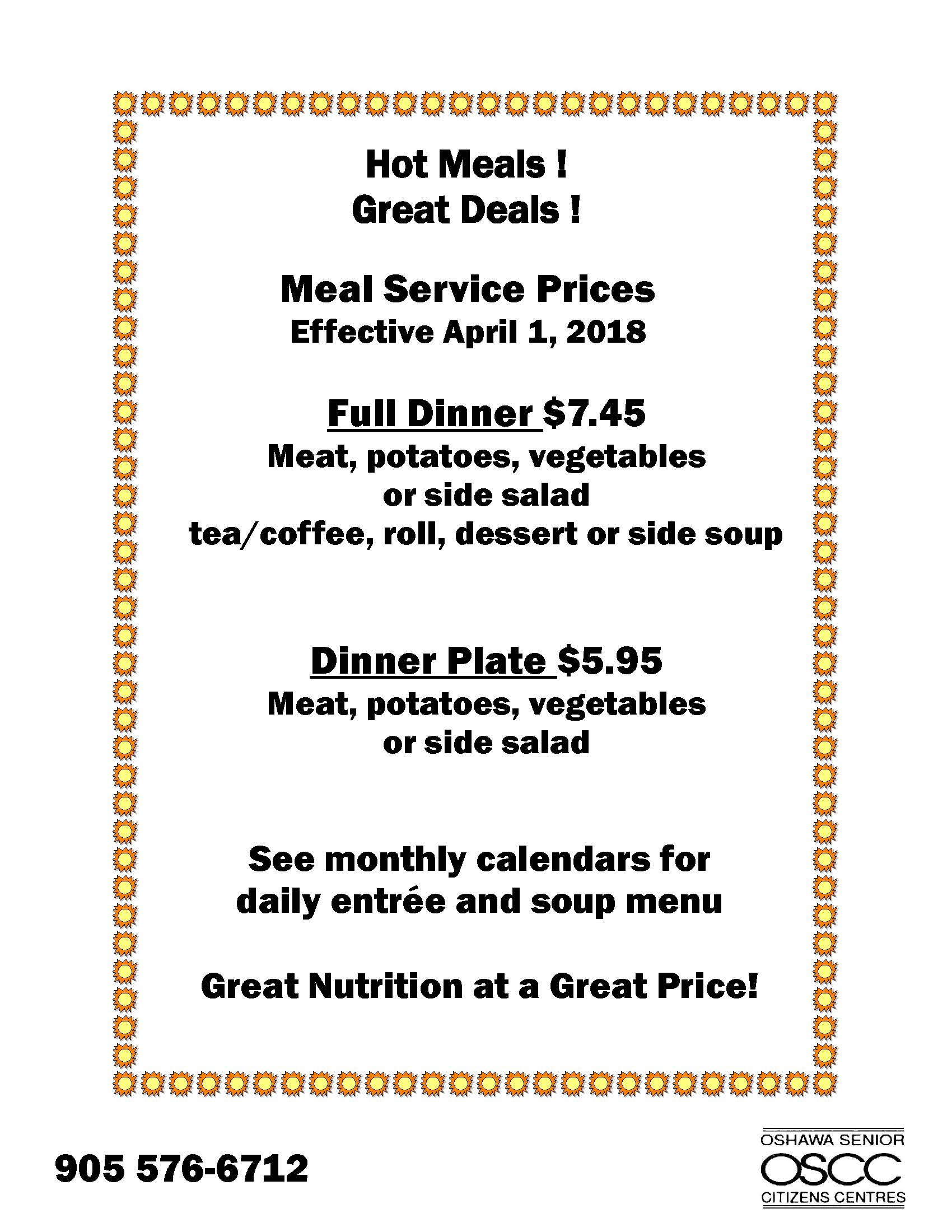 Meal Services summary of increases