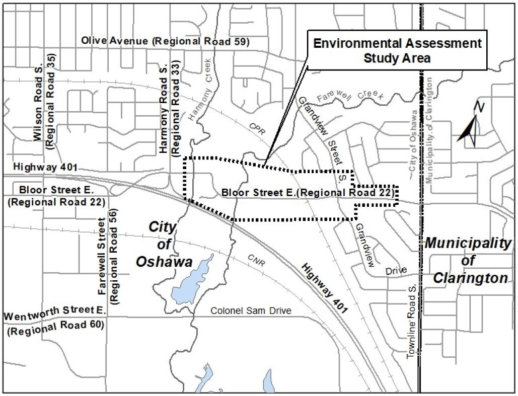 Municipal Class Environmental Assessment study area for the realignment and widening of Bloor Street