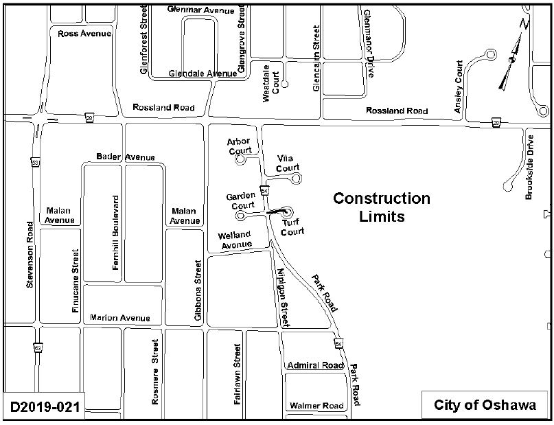 Map of construction limits